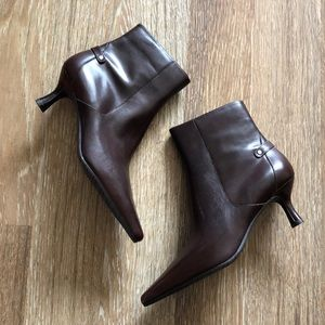 New in box Anne Klein brown leather ankle boots